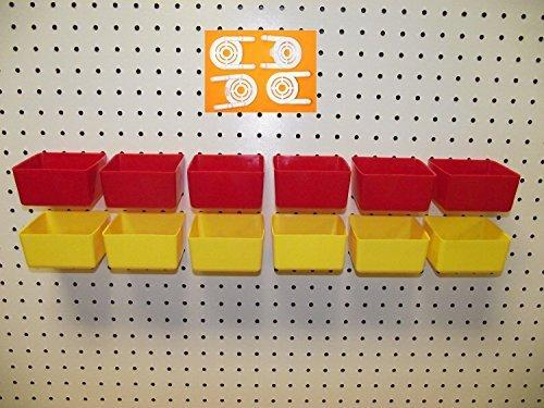 "16 PACK 1/4"" HOLE Peg Board Workbench Bins (6) Red bins and (6) Yellow bins PLASTIC Plus (4) Tool holders FITS WOODEN PEGBOARDS (PEGBOARD NOT INCLUDED)"
