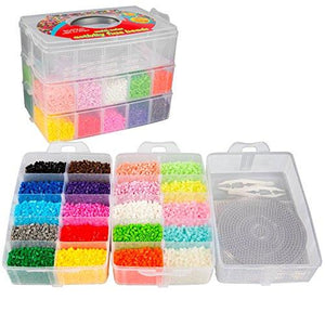 20,000 Fuse Beads - 20 colors (5 Glow in the Dark), Tweezers, Peg Boards, Ironing Paper, Case -