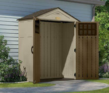 Load image into Gallery viewer, Order now suncast 6 x 3 everett storage shed outdoor storage for backyard tools and accessories all weather resin material transom windows and shingle style roof wood grain texture
