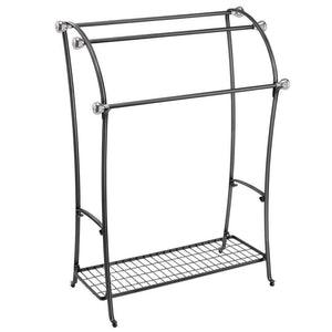 Budget friendly mdesign large freestanding towel rack holder with storage shelf 3 tier metal organizer for bath hand towels washcloths bathroom accessories black brushed steel