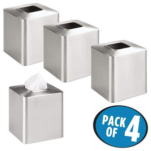 Cheap mdesign square paper facial tissue box cover holder for bathroom vanity countertops bedroom dressers night stands desks and tables metal 4 pack brushed