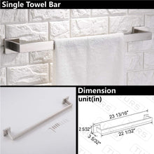 Load image into Gallery viewer, New turs contemporary 4 piece bathroom hardware set towel hook towel bar toilet paper holder tower holder sus 304 stainless steel wall mounted brushed