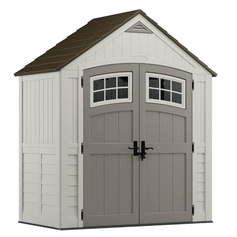 Save on suncast 7 x 4 cascade storage shed outdoor storage for backyard tools and accessories all weather resin material transom windows and shingle style roof