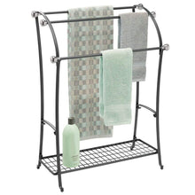 Load image into Gallery viewer, Buy now mdesign large freestanding towel rack holder with storage shelf 3 tier metal organizer for bath hand towels washcloths bathroom accessories black brushed steel