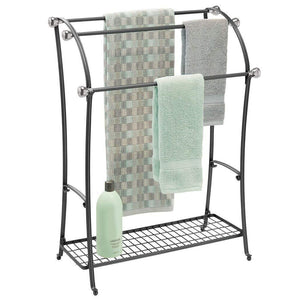 Buy now mdesign large freestanding towel rack holder with storage shelf 3 tier metal organizer for bath hand towels washcloths bathroom accessories black brushed steel