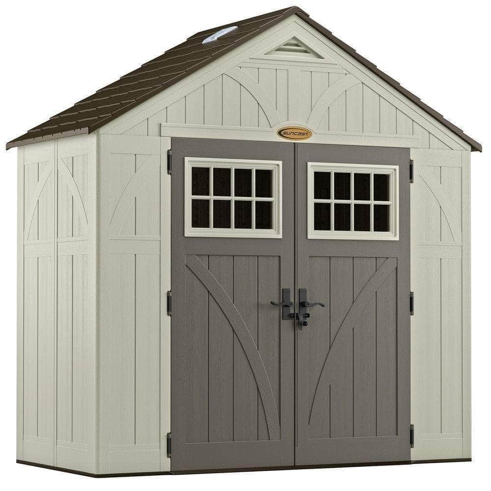 Amazon suncast 4 x 8 tremont storage shed with windows outdoor storage for backyard tools and accessories all weather resin material transom windows and shingle style roof