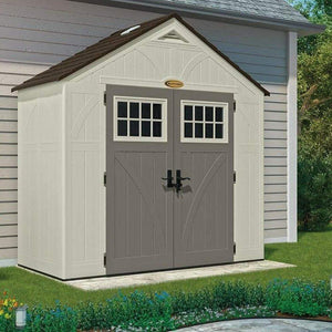 Budget friendly suncast 4 x 8 tremont storage shed with windows outdoor storage for backyard tools and accessories all weather resin material transom windows and shingle style roof