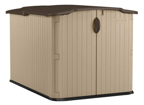 Storage suncast glidetop slide lid shed outdoor storage shed with walk in access for backyards lockable storage for bikes mowers and patio furniture
