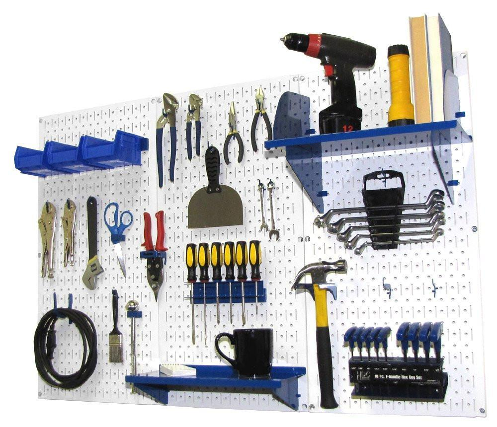 4' Metal Pegboard Standard Tool Organizer Kit with Accessories - White/Blue