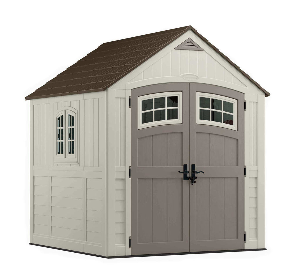 Storage organizer suncast 7 x 7 cascade storage shed outdoor storage for backyard tools and accessories all weather resin material transom windows and shingle style roof