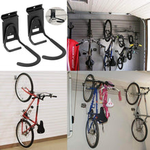 Load image into Gallery viewer, Amazon best heavy duty slatwall bike hook storage system vertical bicycles rack for garden garage shed organization easily hang detach tools hanger black 2 pack 6 8 bike hook