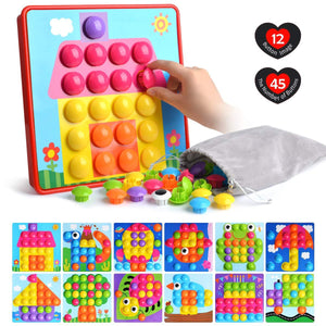 Button Art Toys for Toddlers Color Matching Mosaic Pegboard Early Learning Educational Puzzle Peg Board Games Best Gift for Preschool Kids 12pcs images