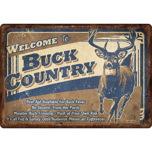 "Buck Country Tin Sign 12""x17"""