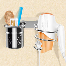Load image into Gallery viewer, Discover the einfagood hair dryer holder wall mount with adhesive pads bathroom organizer storage cylindrical cup stainless steel polished finish 2 hair dryer holder