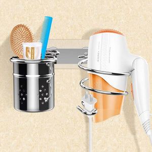 Discover the einfagood hair dryer holder wall mount with adhesive pads bathroom organizer storage cylindrical cup stainless steel polished finish 2 hair dryer holder