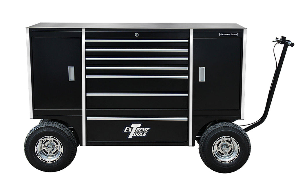 Extreme Tools TXPIT7009BK Tx Series 7-Drawer and 2-Compartment Pit Box with Ball Bearing Slides, 70-Inch, Black High Gloss Powder Coat Finish