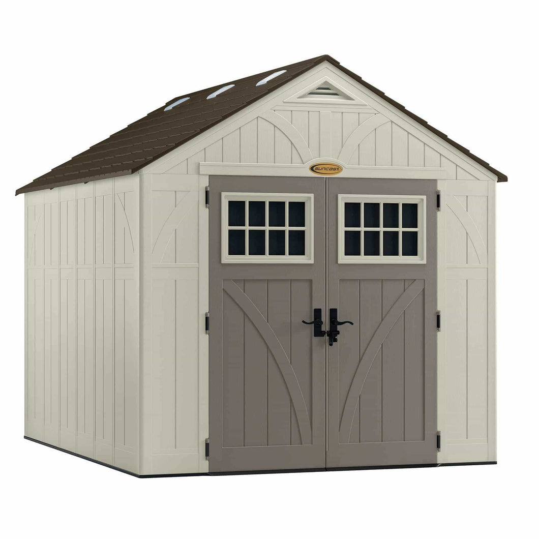 Products suncast 8 x 10 tremont storage shed outdoor storage for backyard tools and accessories all weather resin material transom windows and shingle style roof