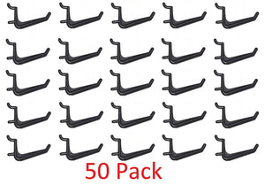 50 Pack Of JUMBO Pegboard Hooks Black Garage Tools Hammer Air Tool Storage Organization Jewelry