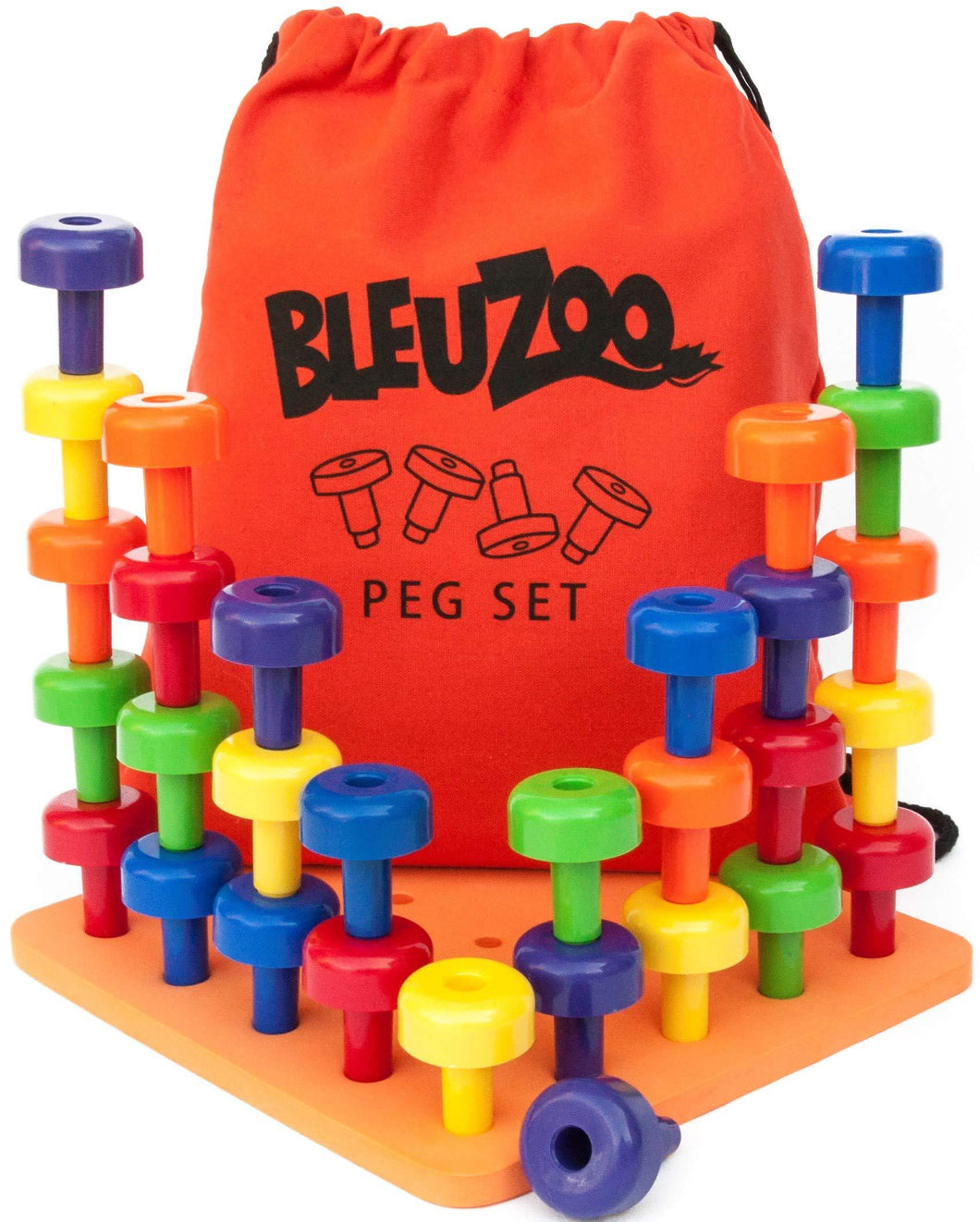 BleuZoo Peg Board Set - Montessori Stacking Toys For Toddlers | Fine Motor Skills, STEM, Autism, Educational, Speech Occupational Therapy, Colors Building - Preschool Activities | 30 Pegs, Board & Bag