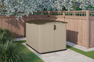Try suncast glidetop slide lid shed outdoor storage shed with walk in access for backyards lockable storage for bikes mowers and patio furniture