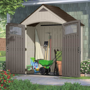 Shop here suncast 7 x 4 cascade storage shed outdoor storage for backyard tools and accessories all weather resin material transom windows and shingle style roof