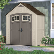 Load image into Gallery viewer, Storage suncast 7 x 4 cascade storage shed outdoor storage for backyard tools and accessories all weather resin material transom windows and shingle style roof