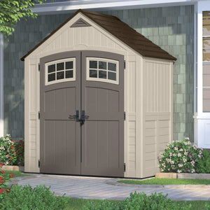 Storage suncast 7 x 4 cascade storage shed outdoor storage for backyard tools and accessories all weather resin material transom windows and shingle style roof