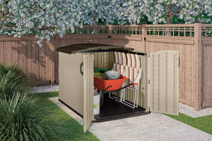 Top rated suncast glidetop slide lid shed outdoor storage shed with walk in access for backyards lockable storage for bikes mowers and patio furniture