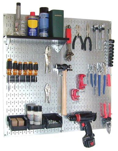 Metal Pegboard Utility Tool Storage Kit with Accessories - Metallic Galvanized/Black