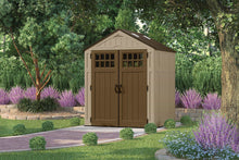 Load image into Gallery viewer, Related suncast 6 x 5 everett storage shed outdoor storage for backyard tools and accessories all weather resin material transom windows and shingle style roof wood grain texture