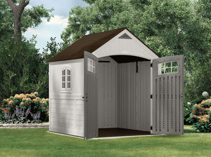 Try suncast 7 x 7 cascade storage shed outdoor storage for backyard tools and accessories all weather resin material transom windows and shingle style roof