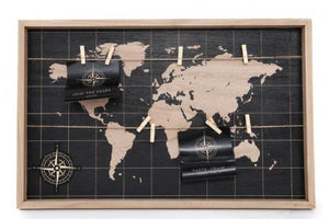 Large Black World Map Peg Board