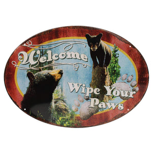 "Tin Sign - Wipe Yer Paws, Size 12"" x 17"""