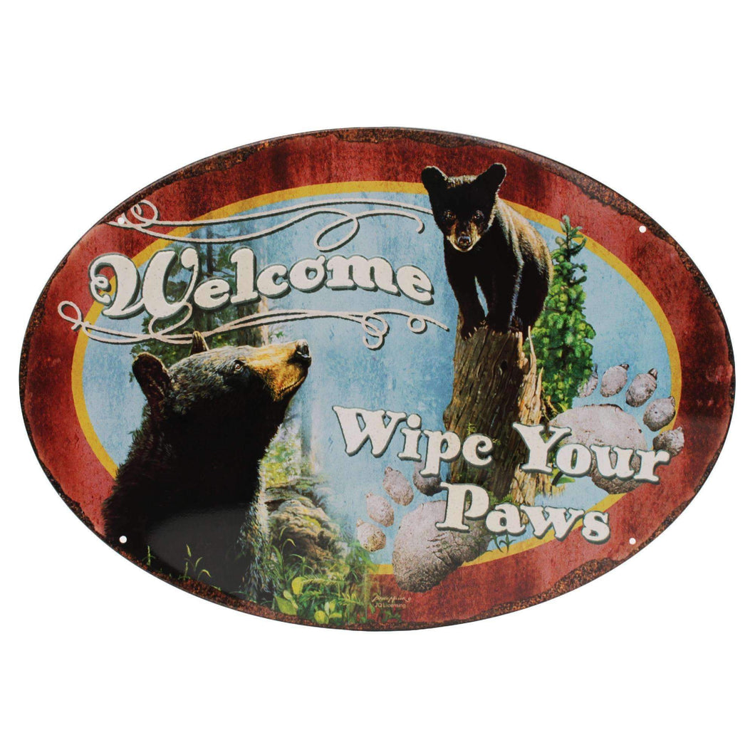 Tin Sign - Wipe Yer Paws, Size 12