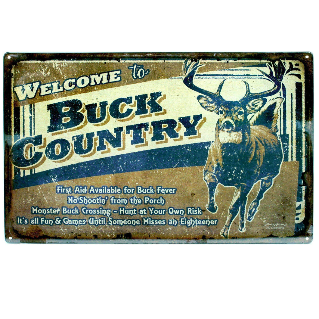 Tin Sign - Buck County, Size 12