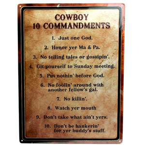 Warning-cowboy 10 Commandment Sign