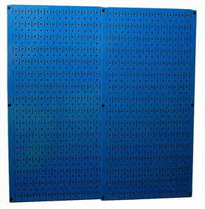 "Blue Metal Pegboard Pack - Two 16"" x 32"" Pegboard Tool Boards"