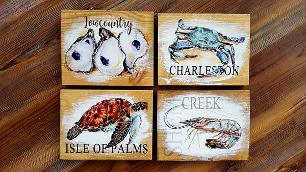 4 Pack Charleston Crab Oysters Turtle Shrimp Artwork 5 x 7