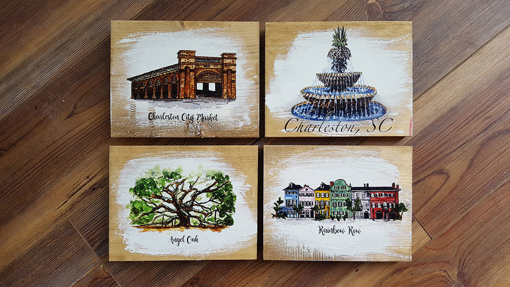 5x7 Charleston Landmarks Artwork- SET OF 4