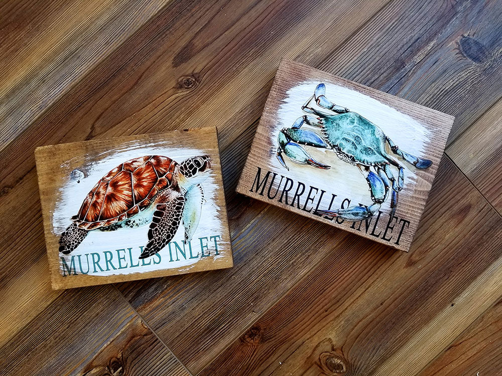 5x7 Murrells Inlet Crab or Turtle Artwork