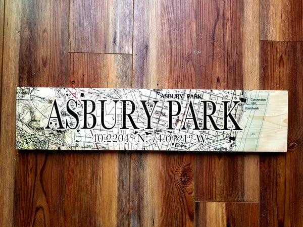 Asbury Park NJ Coordinate Sign