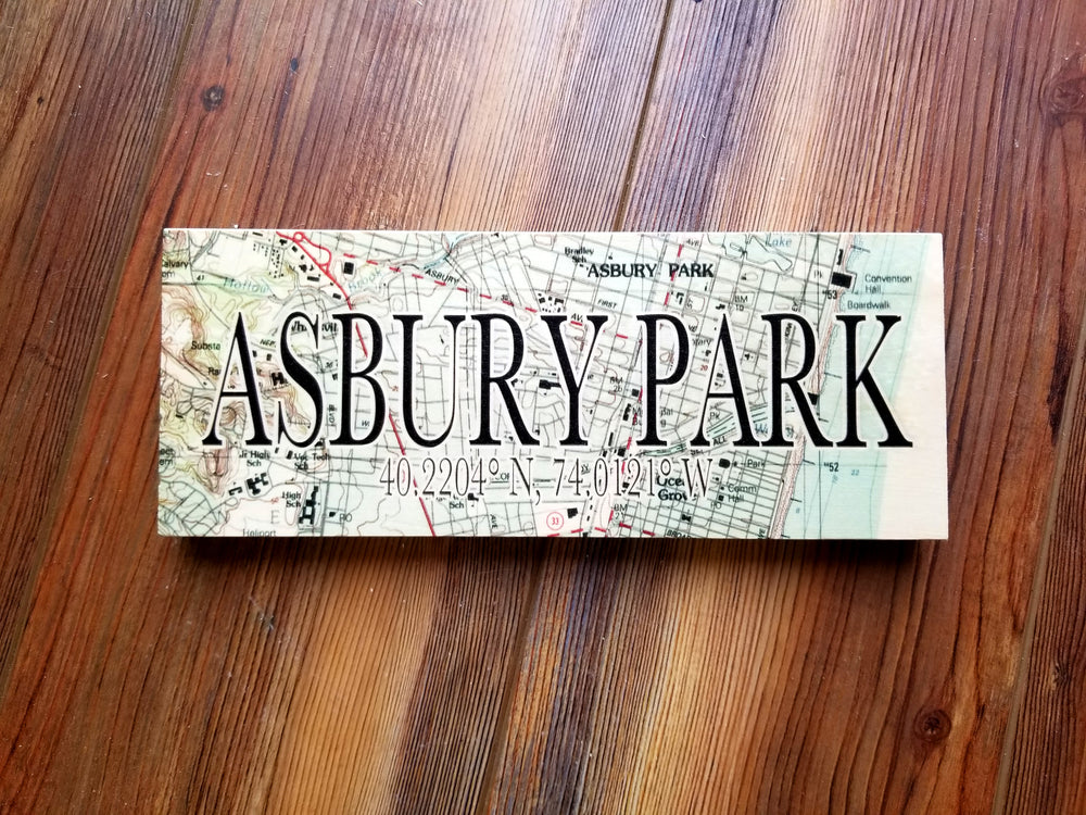 Asbury Park, NJ Mini Coordinate Sign