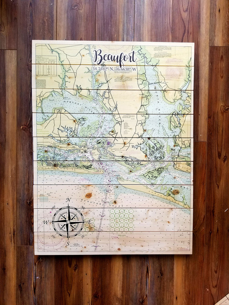 Beaufort NC XL Statement Sized Pallet Maps