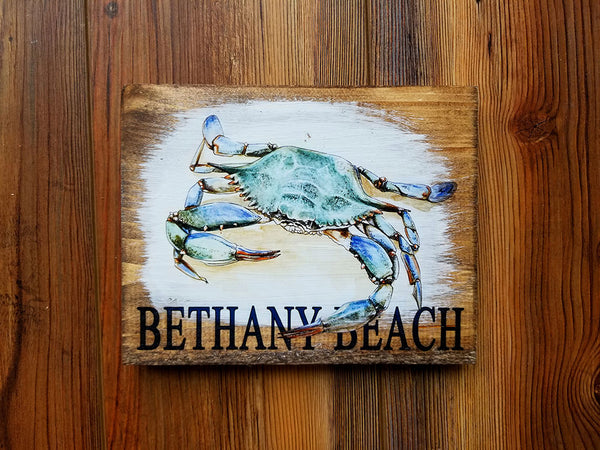 Bethany Beach MD Plank Crab Artwork