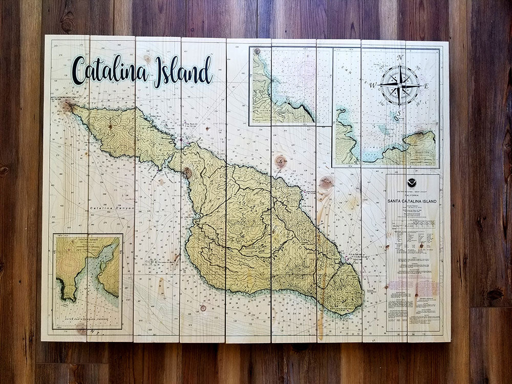 Catalina Island, CA  XL Statement Sized Pallet Maps