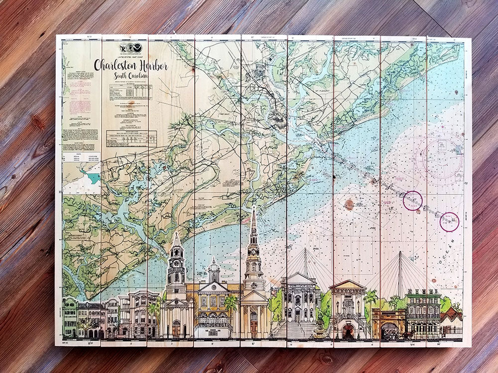 Charleston, SC Skyline Artwork Statement Sized Pallet Map