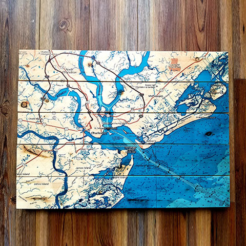 Charleston, SC Teal Pallet Map