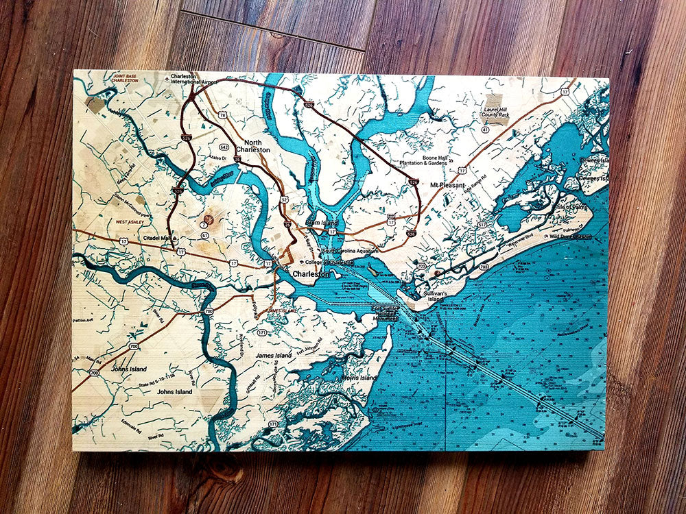 Charleston, SC Teal Plank Map