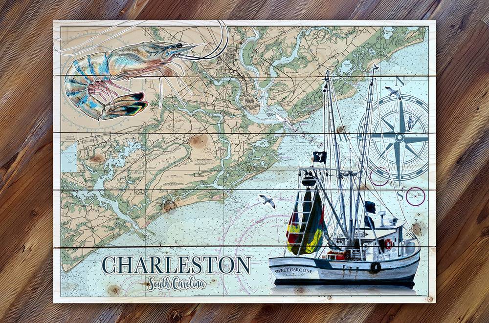 Charleston, SC Shrimp boat Pallet Map