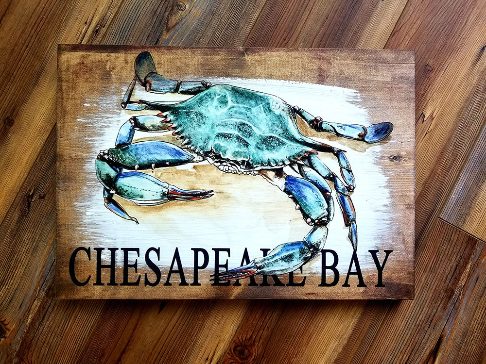 Chesapeake Bay Crab Plank Artwork